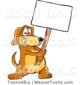 Mascot Vector Cartoon of a Friendly Happy Brown Dog Mascot Cartoon Character Holding a Blank White Sign by Toons4Biz