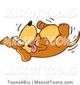 Mascot Vector Cartoon of a Goofy Happy Brown Dog Mascot Cartoon Character Rolling Around on His Back, Asking for a Belly Rub by Toons4Biz