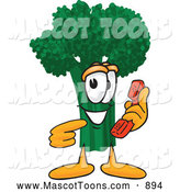Mascot Vector Cartoon of a Green Broccoli Mascot Holding a Telephone by Toons4Biz