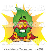 Mascot Vector Cartoon of a Green Leaf Mascot Cartoon Character Dressed As a Super Hero by Toons4Biz