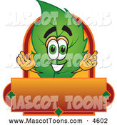 Mascot Vector Cartoon of a Green Leaf Mascot Cartoon Character with a Red and Orange Label by Toons4Biz