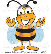 Mascot Vector Cartoon of a Grinning Bee Mascot Cartoon Character Greeting with Open Arms by Toons4Biz