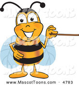 Mascot Vector Cartoon of a Grinning Bee Mascot Cartoon Character Holding a Pointer Stick by Toons4Biz
