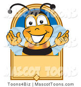 Mascot Vector Cartoon of a Grinning Bee Mascot Cartoon Character on a Blank Tan Label by Toons4Biz