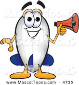 Mascot Vector Cartoon of a Grinning Blimp Mascot Cartoon Character Holding a Megaphone by Toons4Biz