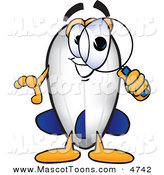 Mascot Vector Cartoon of a Grinning Blimp Mascot Cartoon Character Looking Through a Magnifying Glass by Toons4Biz