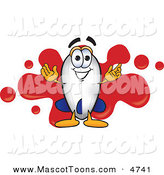 Mascot Vector Cartoon of a Grinning Blimp Mascot Cartoon Character with a Red Paint Splatter by Toons4Biz