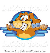 Mascot Vector Cartoon of a Grinning Brown Dog Mascot Cartoon Character Logo with Open Arms on Blue Lines by Toons4Biz