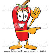 Mascot Vector Cartoon of a Grinning Chili Pepper Mascot Cartoon Character Waving and Pointing by Toons4Biz