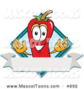 Mascot Vector Cartoon of a Grinning Chili Pepper Mascot Cartoon Character with a Blue Diamond and Blank Label by Toons4Biz