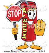 Mascot Vector Cartoon of a Grinning Dynamite Mascot Cartoon Character Holding a Stop Sign by Toons4Biz