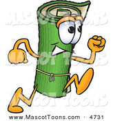 Mascot Vector Cartoon of a Grinning Green Carpet Mascot Cartoon Character Running by Toons4Biz