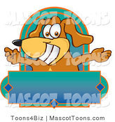 Mascot Vector Cartoon of a Grinning Happy Brown Dog Mascot Cartoon Character with Open Arms Above a Blank Label by Toons4Biz