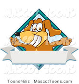 Mascot Vector Cartoon of a Grinning Happy Brown Dog Mascot Cartoon Character with Open Arms over a Blank White Label by Toons4Biz