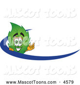 Mascot Vector Cartoon of a Grinning Leaf Mascot Cartoon Character Logo with a Blue Dash by Toons4Biz