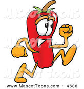 Mascot Vector Cartoon of a Grinning Red Chili Pepper Mascot Cartoon Character Running by Toons4Biz