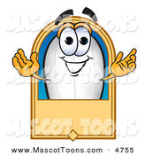 Mascot Vector Cartoon of a Grinning White Blimp Mascot Cartoon Character with a Blank Label by Toons4Biz
