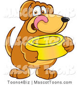 Mascot Vector Cartoon of a Happy and Hungry Brown Dog Mascot Cartoon Character Holding a Yellow Food Dish, Waiting to Be Fed by Toons4Biz