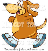 Mascot Vector Cartoon of a Happy Athletic Brown Dog Mascot Cartoon Character Wearing Tennis Shoes and Taking a Walk by Toons4Biz