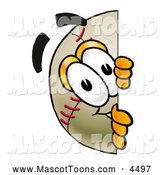 Mascot Vector Cartoon of a Happy Baseball Mascot Cartoon Character Peeking Around a Corner by Toons4Biz