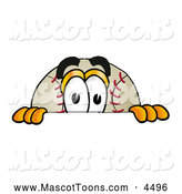 Mascot Vector Cartoon of a Happy Baseball Mascot Cartoon Character Peeking over a Surface by Toons4Biz