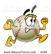 Mascot Vector Cartoon of a Happy Baseball Mascot Cartoon Character Running by Toons4Biz
