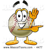 Mascot Vector Cartoon of a Happy Baseball Mascot Cartoon Character Waving and Pointing by Toons4Biz