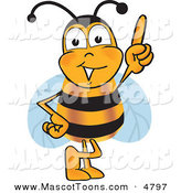 Mascot Vector Cartoon of a Happy Bee Mascot Cartoon Character Pointing UpwardsHappy Bee Mascot Cartoon Character Pointing Upwards by Toons4Biz
