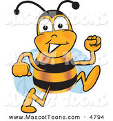 Mascot Vector Cartoon of a Happy Bee Mascot Cartoon Character Running by Toons4Biz