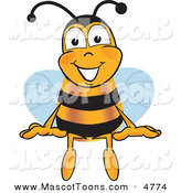Mascot Vector Cartoon of a Happy Bee Mascot Cartoon Character Sitting by Toons4Biz