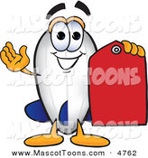 October 24th, 2012: Mascot Vector Cartoon of a Happy Blimp Mascot Cartoon Character Holding a Red Clearance Price Tag by Toons4Biz