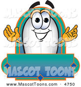 Mascot Vector Cartoon of a Happy Blimp Mascot Cartoon Character with a Blank Label by Toons4Biz