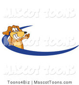 Mascot Vector Cartoon of a Happy Brown Dog Mascot Cartoon Character Logo with a Blue Swoop by Toons4Biz