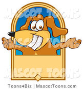 Mascot Vector Cartoon of a Happy Brown Dog Mascot Cartoon Character with Open Arms on a Banner by Toons4Biz