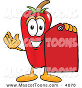 Mascot Vector Cartoon of a Happy Chili Pepper Mascot Cartoon Character Holding a Red Price Tag by Toons4Biz