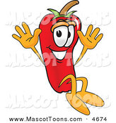 Mascot Vector Cartoon of a Happy Chili Pepper Mascot Cartoon Character Jumping by Toons4Biz