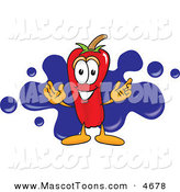 Mascot Vector Cartoon of a Happy Chili Pepper Mascot Cartoon Character with a Blue Paint Splatter by Toons4Biz