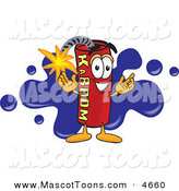 Mascot Vector Cartoon of a Happy Dynamite Mascot Cartoon Character with a Blue Paint Splatter by Toons4Biz