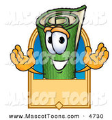 Mascot Vector Cartoon of a Happy Green Carpet Mascot Cartoon Character with a Blank Tan Label by Toons4Biz