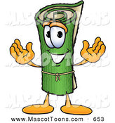 Mascot Vector Cartoon of a Happy Rolled Green Carpet Mascot Cartoon Character by Toons4Biz