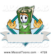 Mascot Vector Cartoon of a Happy Rolled Green Carpet Mascot Cartoon Character with a Blank Label by Toons4Biz