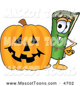 Mascot Vector Cartoon of a Happy Rolled Green Carpet Mascot Cartoon Character with a Carved Halloween Pumpkin by Toons4Biz