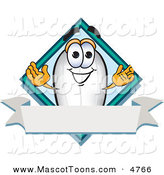 Mascot Vector Cartoon of a Happy White Blimp Mascot Cartoon Character with a Blank Ribbon Label by Toons4Biz