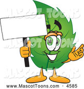 July 9th, 2013: Mascot Vector Cartoon of a Healthy Leaf Mascot Cartoon Character Holding a Blank White Sign by Toons4Biz
