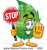 July 3rd, 2013: Mascot Vector Cartoon of a Healthy Leaf Mascot Cartoon Character Holding a Stop Sign by Toons4Biz