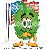 Mascot Vector Cartoon of a Healthy Leaf Mascot Cartoon Character Pledging Allegiance to an American Flag by Toons4Biz