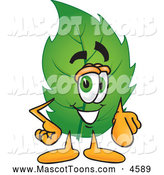 Mascot Vector Cartoon of a Healthy Leaf Mascot Cartoon Character Pointing at the Viewer by Toons4Biz