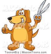 Mascot Vector Cartoon of a Helpful Brown Dog Mascot Cartoon Character Holding a Pair of Scissors by Toons4Biz