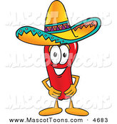 Mascot Vector Cartoon of a Hispanic Chili Pepper Mascot Cartoon Character Wearing a Sombrero by Toons4Biz