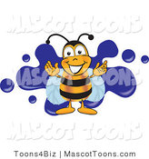 Mascot Vector Cartoon of a Honey Bee Mascot Cartoon Character Logo with a Blue Paint Splat by Toons4Biz